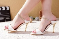 2013 brief stiletto sandals gold belt sexy female casual solid color slippers plus size 33-43