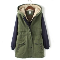 [Free Shipping]2013 autumn winter new arrival color matching long sleeves jacket  fashion women's warm coat [HL0185]