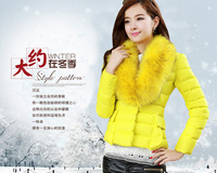Hot-selling 2013 slim down coat short design women's long-sleeve wadded jacket large fur collar outerwear