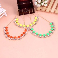 2015 Limited Real Women Collar Pendant Necklace Christmas Gift Wholesale Fashion Fluorescent Candy Colored Necklace Studded