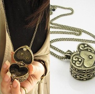 Designer Vintage Retro Antique Bronze Heart Can Open Pendant Jewelry Box Long Sweater Women Necklace Chain Cheap Fashion(China (Mainland))