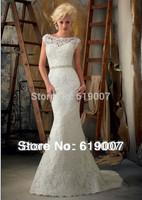 Mermaid Wedding Dresses New Sale Freeshipping Natural Floor-length High 2014 Gorgeous Custom-made Wedding Dress Design Ball Gown