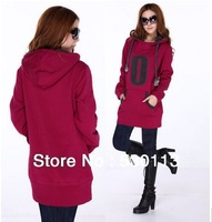 2013 Autumn Winter New Plus Size Womens clothibg cashmere thickened letters hooded loose sweater female long jacket women hoodie