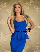 Elegant Women Lady Blue Sexy New Fashion OL Peplum Long Knee-length Dress Party Bodycon office Work Dresses With Belt