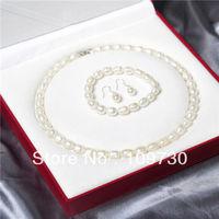 Jewelry 00384 8-9mm Grain shape natural pearl necklace set bracelets earrings can choose