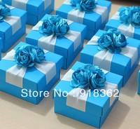 Sea Love!Free Shipping(50pcs/Lot)European Style,Good Quality,Blue Square Paper Wedding Favor Box,w/Ribbon,Blue Flowers,Foldable