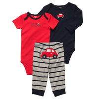 Wholesale 6sets/lot, Original Carter's Baby Boys  3-Pieces Bodysuit Pant Set,  Fashion Baby Boys Car Model , Freeshipping