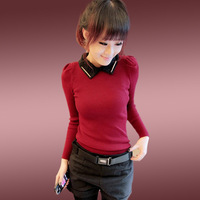 Mushroom women's basic shirt autumn female long-sleeve t-shirt shirt collar shirt 2013