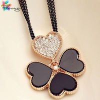 2013 hot sale korean wholesale/retail free shipping  4 leaf clover long chain necklace for trendsetter [X8558]