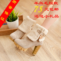 Autumn and winter sweet berber fleece thick heel high-heeled martin boots round toe boots winter boots snow boots