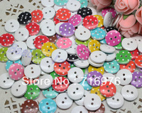 Wholesale Free Shipping 200pcs Mixed 2 Holes Wood Sewing Buttons Scrapbooking 13mm  (W02280)
