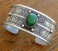 wholesale 2pcs < bracelets >bracelets >Lovely Noblest Jewelry Tibet SIlver totem & Green Jade Cuff women's Bracelet ##193