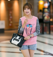 2013 fashion owl patchwork stripe pullover sweatshirt 916