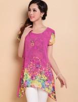 M-XXXL New 2014 Fashion Women's Summer Chiffon Casual shirt Ladies Flower Print Cutout Short-Sleeve Blouses Plus Size Loose Top