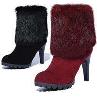 Rabbit fur boots first layer of cowhide full genuine leather stiletto shoes women's scrub martin boots Free Shipping