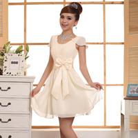 2014 new double-shoulder prom party short formal dress bride short design bridesmaid dress