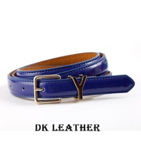Promotion!!!!Fashion New Style Candy cowhide Leather with pu Ladies slim Belts,leather multicolor thin belt for women