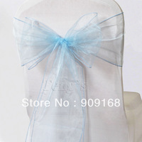 Blue Wedding Party Organza Chair Cover Sashes