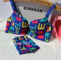 Higher quality  Women's Vitoria seamless bra and panties set / letter printer bra secret sexy underwear