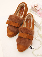 Small fresh comfortable bow rabbit fur flat thermal women's elevator casual shoes plus velvet single shoes