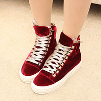 Fashion all-match high-top shoes gold shoelace elevator women's platform casual shoes platform shoes women's shoes