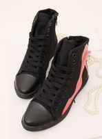 Round toe lacing color block decoration elevator canvas shoes casual shoes single shoes women's shoes high-top shoes