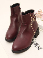 All-match low-heeled rivet buckle boots thermal plus velvet boots snow boots