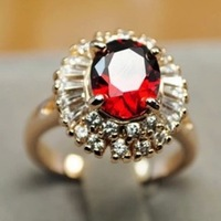 Wholesale Italina Red Rhinestone Ziron Engagement Wedding Band Ring with 18K Rose Gold Plated 18KRGP Sale