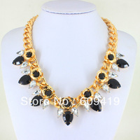 fashion accessories 2014 chunky gold necklace luxury flowers Statement bib pendant trendy necklace For Women LM-SC600