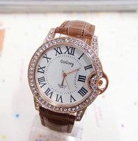 Wholesale Leather Strape Gogoey Brand Crystal Watch Women Fashion Dress Quartz Watch Ladies GO071  AN