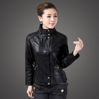 2014 New lady's Leather Jacket Short Paragraph Spring And Autumn Women Fashion Slim leather jacket Woman's Brand Coat CX35