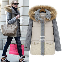 women's overcoat outerwear 2013 new European and American winter thick warm wool stitching real fur collar coat jacket