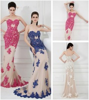 2014 Elegant Strapless Neckline Floor Length Gown Features  Beaded lace applique Nude Perfectly Sweet Sheath Prom Dresses Gown