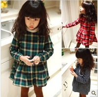 Female child plaid long-sleeve thickening one-piece dress 2014 child fleece puff dress
