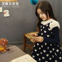 Clothing 2014 female child autumn and winter princess dress plus velvet thickening big girl one-piece dress long-sleeve