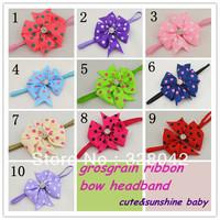 Trail order baby Elastic Headbands polka dots grosgrain ribbon bows with rhinestone headbands baby  hair accessories 30pcs/lot