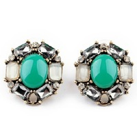 New 2014 Jewelry Beautiful Vintage Round Green Stud Earrings For Women Factory Wholesale