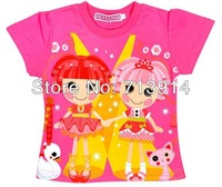 Free Shipping 2013 new kids baby girls cotton cartoon t shirt anime lalaloopsy T-shirt,cartoon girl short sleeve t shirts child