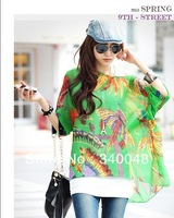 Free Shipping 2014 spring/summer new chiffon batwing blouse for women flower printed plus size shirt long loose tops 24 colors