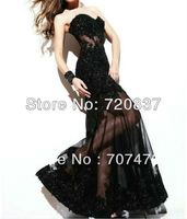 HOT sexy design black color see through appliques beadings floor-length long prom dresses special occasion dresses in stock