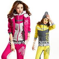 Sweat Suit Women Simple Cute Sports Hoodies Clothing Set Coat+Vest+Pants 3pcs Tracksuit Outdoor Fun & Sports Fashion 2014