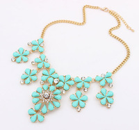 European and American fashion fluorescent colour gem necklace
