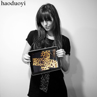 Haoduoyi 2013 leopard print cross short-sleeve cotton t-shirt black