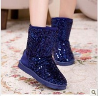 Paillette 2013 winter snow boots female boots fashion medium-leg thickening cotton boots warm shoes
