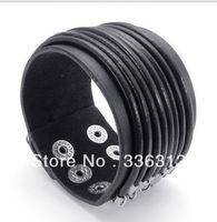 LBG0022146 Handmade Men Vintage Individual Alloy Buckle Black Punk Leather Wristband Bracelets and Bangles gift MAX ROPE