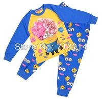 Freeshipping new fashion kids Despicable me 2 Minions cartoon clothing set boys long sleeve suit Children's tshirt+pants pajamas