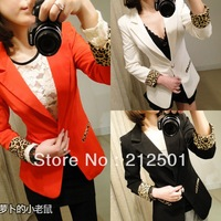 2013 New arrivel Autumn Girl Candy coat Leopard design Slim jacket Casual small suit  3 color Free Ship