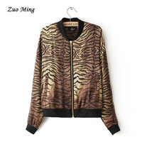 New Arrival fall fashion casual women's clothing, leopard print jacket collar long-sleeved jacket Size: S - L fast shiping