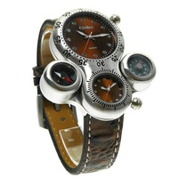Oulm male watch the trend of fashion vintage men's table compass thermometer