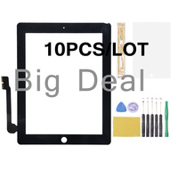 DHL free Black Touch screen digitizer Outer glass lens replacement for iPad 3/4 +tools +adhesive +protective film 10pcs/lot